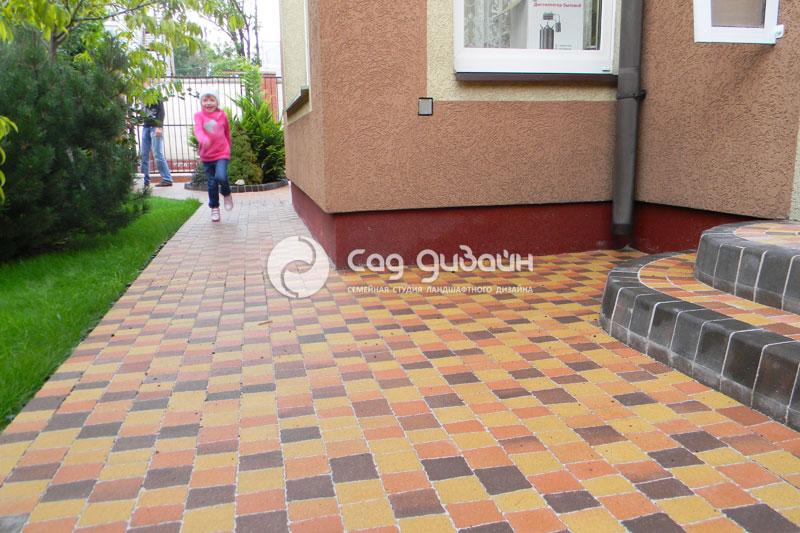 Готовый объект мощения тротуарной плитки